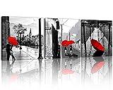 Nan viento 3pcs moderno Giclée lienzo negro y blanco con rojo tema pared arte paisaje decoración de la pared pinturas sobre lienzo estirada y enmarcado listo para colgar para decoración del hogar