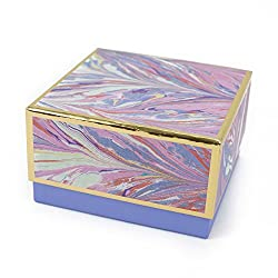 "Hallmark Signature 7"" Medium Gift Box (Marble, Pink, Lavender, Gold) for Birthdays, Bridal Showers,"