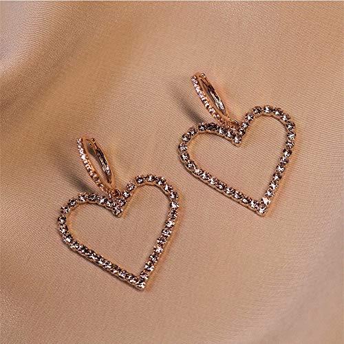 Pendientes De Gota Para Mujer,Moda En Forma De Corazón Pendientes Colgantes De Circonita Anillo De Aro Ligero Hipoalergénico Pendientes De Joyería Circular Para Mujeres Fiesta De Niñas Boda Rega
