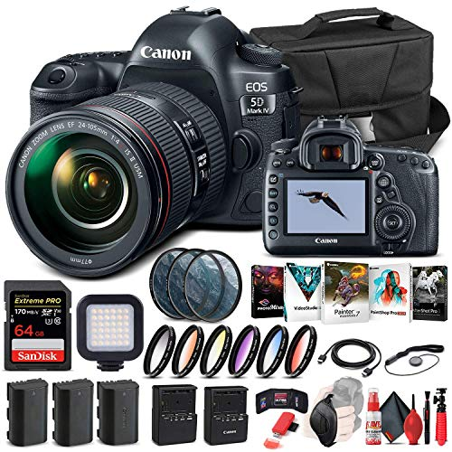 Canon EOS 5D Mark IV DSLR Camera with 24-105mm f/4L II Lens (1483C010) + 64GB Memory Card + Case + Corel Photo Software + 2 x LPE6 Battery + External Charger + Card Reader + LED Light + More (Renewed)