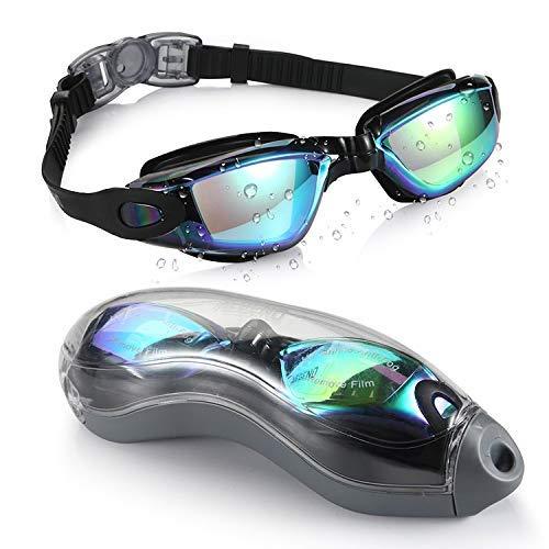 Gafas de natación, natación gafas de gafas de baño, gafas de natación con espejos sin fugas antiiezo UV Protección de triatlón Gafas de natación con protección gratuita para hombres adultos Mujeres Jó