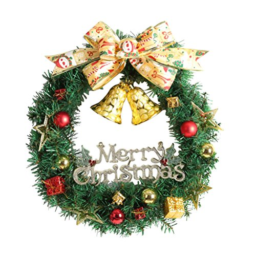 WINOMO Weihnachten Kranz Bowknot Weihnachtskranz Tannenkranz mit kugeln Stern Geschenke Weihnachtsdeko Tür Wand Ornament