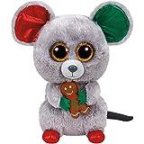 Carletto Ty 37078 Mac - Weihnachtsmaus, 24 cm, mit Glitzeraugen, Glubschi's, Beanie Boo's, X-Mas limitiert Ty 37078-Mac-Weihnachtsmaus, Plüsch