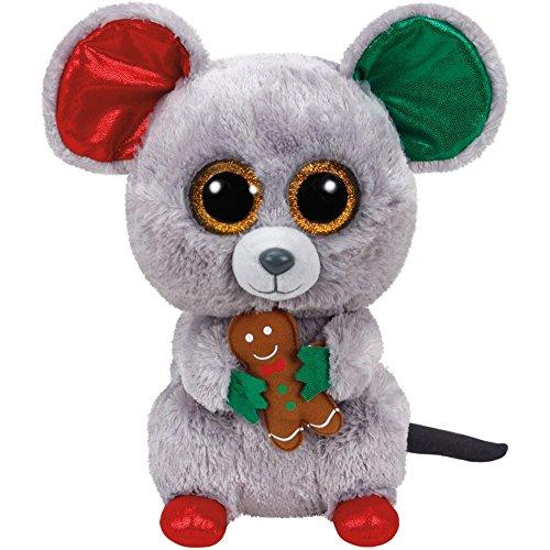 Carletto Ty 37078–Mac–Natale Mouse con Occhi Brillanti, Glubschi S, Beanie Boo S, X mas limitato, Peluche, 24cm