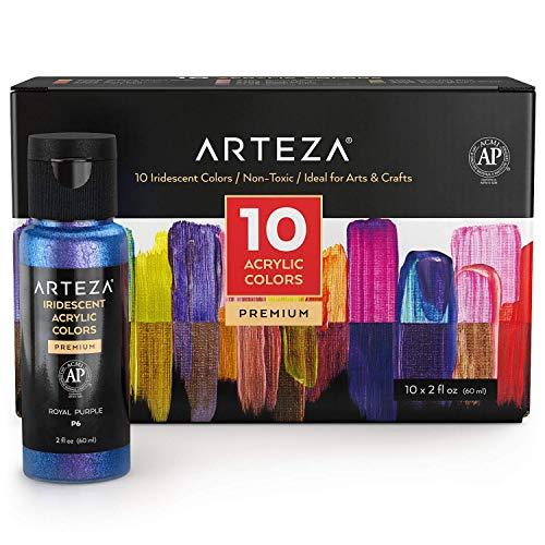 Arteza Set de pintura acrílica brillante de alta densidad, botes de 60 ml, 10 colores iridiscentes, mezclables, a base de agua, pinturas acrílicas para lienzos, madera, cerámica, piedra y telas