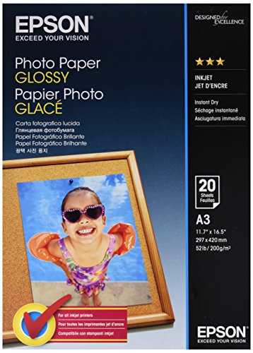 Epson Photo Paper Glossy A3 - Papel fotográfico, 20 hojas