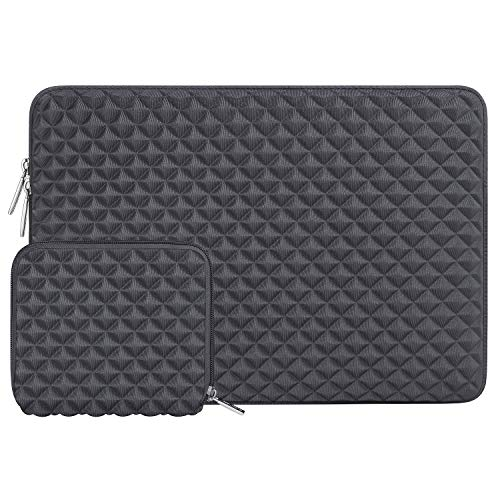 MOSISO Schutzhülle Kompatibel mit MacBook Air 13 M1 A2337 A2179 A1932 2018-2020,MacBook Pro 13 A2338 A2251 A2289 A2159 A1989 A1706 A1708,Diamant-Muster Neopren Laptoptasche mit Klein Fall,Space Grau