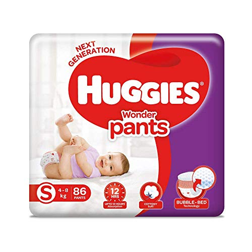 Huggies Wonder Pants Small (S) Size Baby Diaper Pants, with Bubble Bed Technology for comfort, (4.0 kg - 8.0 kg) (86 count) (Baby Product)