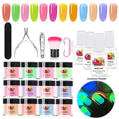 MYSWEETY Polvo de Inmersión para Uñas,12 Colors Polvo Acrílico para Uñas Set Polvos Acrílicos en Polvo Sistema Dipping Powder Starter Kit para Principiante Y Experto NO UV/LED(Parte Luminosos Colores)