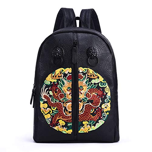TXOZ Leather Backpack Laptop Backpack Shoulders Package Chinese Style Embroidery Bag Students Daypack for Travel, Light Weight Waterproof, 30x13x45 cm (Color : Black decoration)