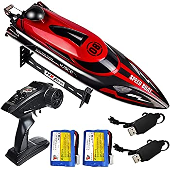 HONGXUNJIE 2.4Ghz RC Boat- 20+ MPH High Speed Remote Control Boat for Adults and Kids for Lakes and Pools with 2 Rechargeable Batteries Low Battery Alarm Capsize Recovery  RED