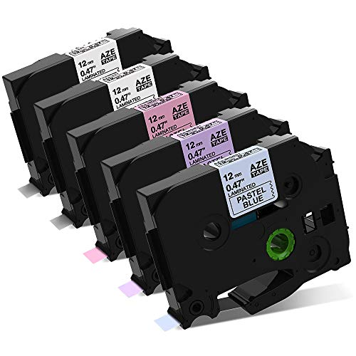 """Label KINGDOM Compatible Labels Replace for Brother P Touch 12mm 0.47"""" TZe Label Tape (Black on Pastel Purple/Blue/Pink/White) Laminated for P-Touch PTD210 PTH110 PTD200 Label Maker, 5-Pack"""