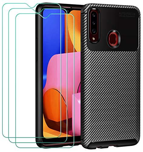 ivoler Hülle für Samsung Galaxy A20s, Handyhülle mit 3 Panzerglas Schutzfolie, Schwarz Stylisch Karbon Design Anti-Kratzer Stoßfest Schutzhülle Cover Weiche TPU Silikon Hülle