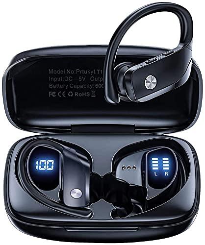 Kabellose Ohrhörer, Bluetooth 5.0 Laufen Kopfhörer Premium Tiefer Bass In-Ear Kopfhörer 48H Spielzeit mit Ladebox für Sport Laufen Fitnessstudio Training (2021 Upgraded)