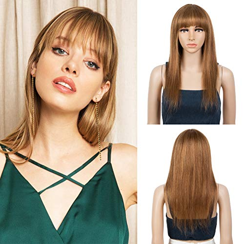 JOEDIR LUX Human Hair Wig with Bangs Straight Machine Made Wig Virgin Remy Hair Ombre Wig Human Hair Wig for Black Women (18 INCH, P30/27)