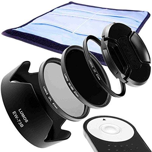 Juego de accesorios Lumos para tu Canon Kit EOS 70d 700d 750d etc. y EF-S 18–135IS STM. Con parasol EW-73B, disparador remoto RC de 6ND, filtro UV, filtro polarizado y tapa de objetivo de 67mm