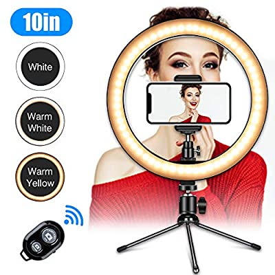 "Ring Light with Tripod Stand,10"" Desk LED Makeup Ring Light with Phone Holder&Remote for YouTube Video, Photography, Shooting with 3 Light Modes and 10 Brightness Level Compatible"