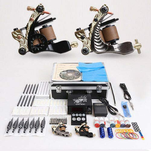 Haroldddol Tattoo-machine, complete professionele tatoeage-tattoo-machine, 7 flessen, tattoo-inkt, 50 tattoo-naalden, netvoeding, pedaal, tattoo-kit