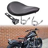 KaTur - Sellino singolo in pelle nera, con kit di staffe di montaggio e molle da 8 mm per Harley Honda Yamaha Kawasaki Suzuki Sportster Bobber Chopper