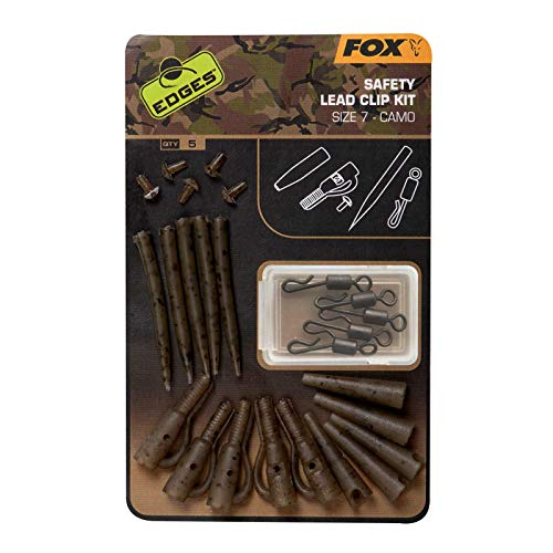 Fox Edges Camo Safety Lead Cip Kit Gr. 7-5 Leadclips für Karpfenrigs, Safety Clips zum Karpfenangeln, Bleieinhänger für Karpfenbleie