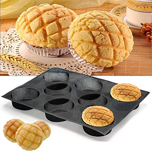Fibreglas Silicone Hamburger Bun Baking Mould, Perforated Baking Mould, Non-Sticky Bread Baking Pan, Baking Mould for Bread, Buns, Puffs, Tartlets and More, 8 Cups
