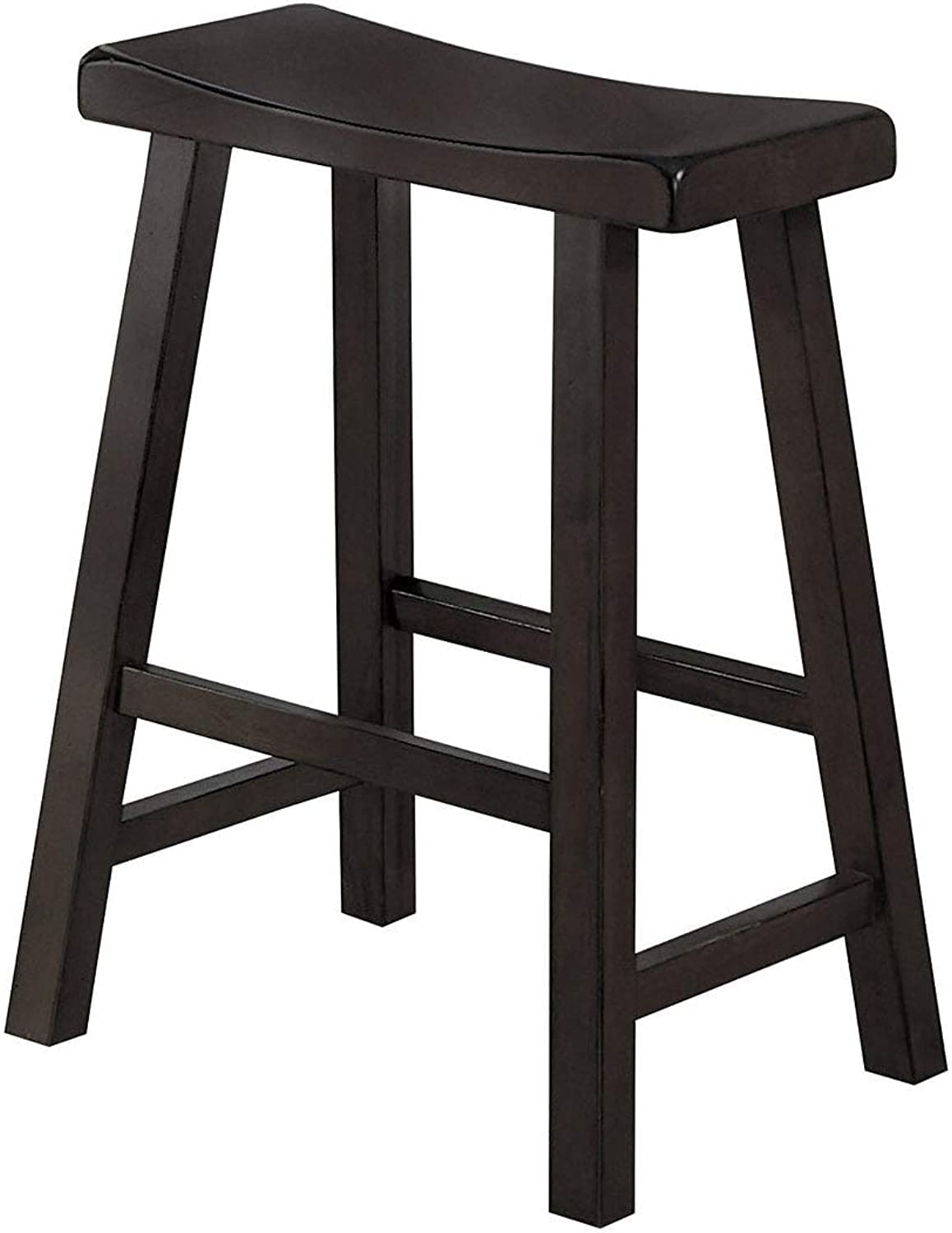 Benzara BM175976 Wooden Counter Height Stool with Saddle Seat, Set of Two, Brown