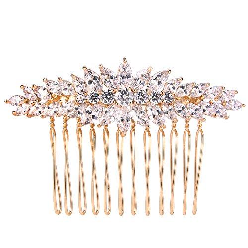 EVER FAITH Damen Cubic Zirconia Elegant Braut Accessories Blatt Haarkamm Klar Gold-Ton