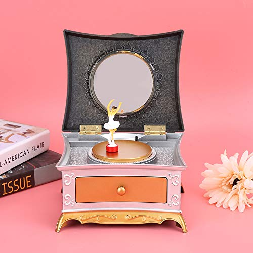 Music Boxes Music Jewelry Boxes, Music Box, Durable Musical Jewelry Box for Toy Decor Gift(Silver White)