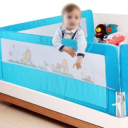 Bettgitter, Rosa/Blau Klappbares Bettgitter Verstellbare Bettschutzgitter Kinderbettgitter Babybettgitter für Rausfallschutz für Massivholzbett(180cm / Blau)
