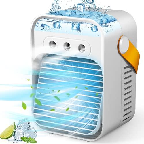 Portable Air Conditioner, Personal Evaporative Air Cooler Quiet Desk Fan with Handle,...