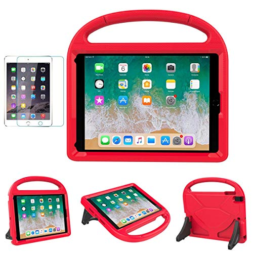 """iPad 9.7"""" 2018(Gen 6) / 2017(Gen 5) Case for Kids - SUPLIK Durable Shockproof Protective Handle Bumper Stand Cover with Screen Protector for 9.7 inch iPad Latest Model,Air 1/2,Pro 9.7, Red"""