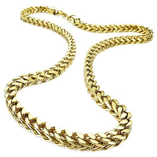 MunkiMix 6MM Breit Rostfreier Stahl Wasserdicht Kette Halskette zum Männer Frauen Jungs Mädchen Kubanische Gliederkette Halsketten Dick Metall Fuchsschwanz Ketten (Gold Farben, 550MM Lange)