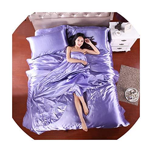 HOT! 100% Pure Satin Silk Bedding Set,Home Textile King Size Bed Set,Bedclothes,Duvet Cover Flat Sheet Pillowcases,Beige,King 4pcs