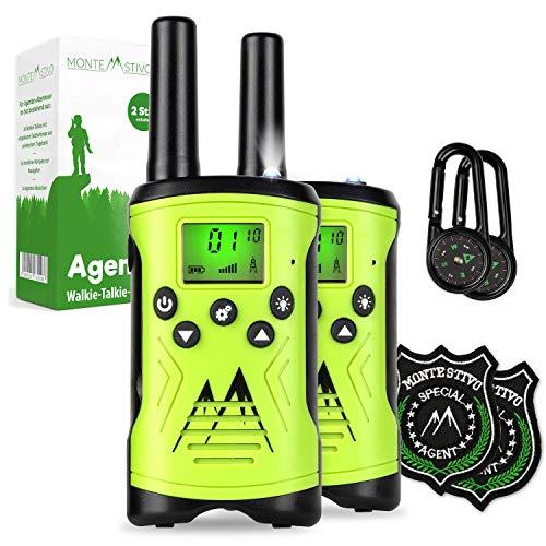 Monte Stivo ® Agent | Walkie-Talkie Set für Kinder mit Kompass & Badge | Geschenk für kleine Abenteurer