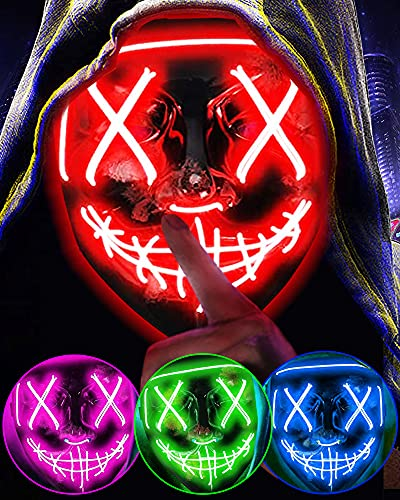 Halloween Purge Mask Light Up LED Costume Masquerade Scary Mask Festival Party Favors for Women Adults Men