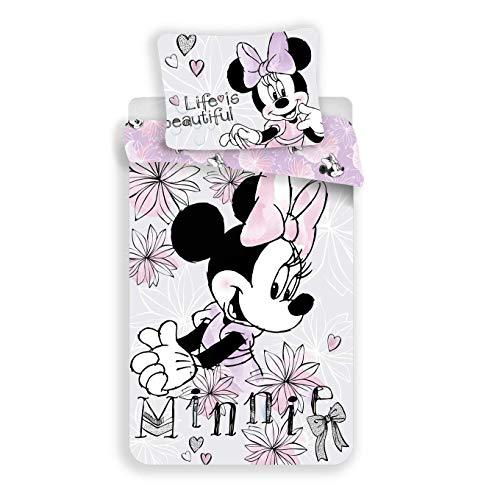 Minnie Mouse Beautiful Life - Juego de cama (140 x 200 cm, funda de almohada de 70 x 90 cm, 100% algodón), color gris y rosa