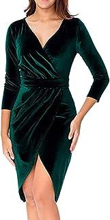 Longra Primavera e Autunno Vestito da Donna V-Collo Abito a Maniche Lunghe Velluto Elegante Abito da Sera Wrap Front Maxi ...