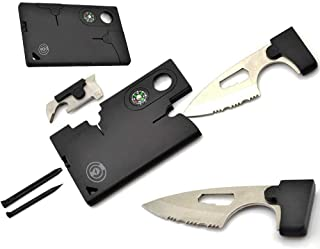 Survial Knife - Credit Card Knife Tool [2 Pack] Survival Pocket Knife By Cable And Case [CCMT1] Credit Card Comrade Survival Card - The Best 10 in 1 Multitool Emergency Survival Companion