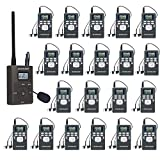 EXMAX EXG-108 DSP Stereo Wireless Headsets FM Radio Broadcast System for Tour Guide Teaching Meeting Training Travel Field Interpretation 1 Transmitter & 25 Receivers (Gray)