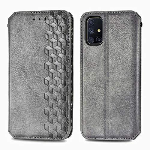 TOPOFU Leder Folio Hülle für Samsung Galaxy M51, Premium PU/TPU Flip Wallet Tasche mit Kartenfächern, Magnetic, Book Style Lederhülle Handyhülle Schutzhülle (Grau)
