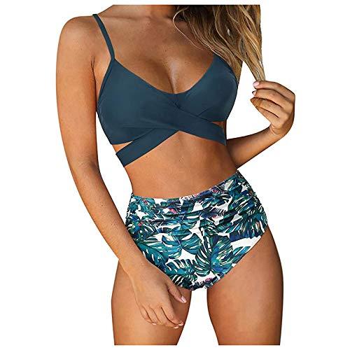 Mujer Conjunto Bikini Baño 2 Piezas de Cuello Halter Traje de Baño de Cintura Alta para Verano Playa Traje