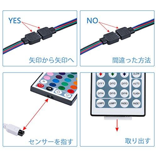 WenTopLEDテープライトスーツ両面テープSMD5050防水ledテープ10m300連正面発光ledテープledRGB30leds/m44Kリモコンと12v電源高輝度切断可能明るいライト
