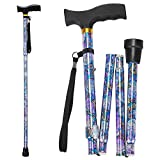 Folding Walking Cane, LIXIANG, 5-Level Height Adjustable Walking Stick for Men & Women with Comfortable Plastic T-Handle Portable Walking Stick, Purple Floral Printing