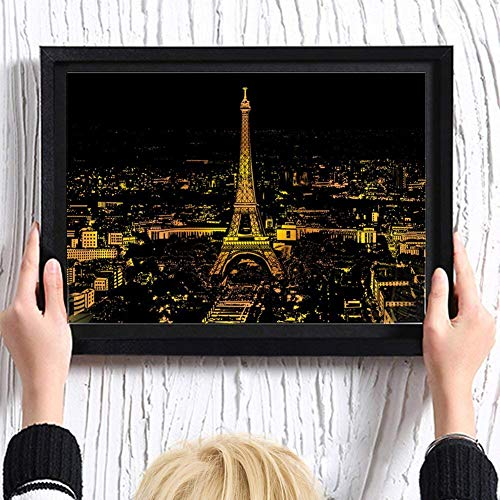 Divine Shield Kratzbilder Scratch Bright City View DIY Zeichnung Malerei Wandbild mit Rahmen, Kinder und Erwachsene Druck, kreative Geschenke, 2 Grafiken (Eiffelturm, London Nachtansicht)