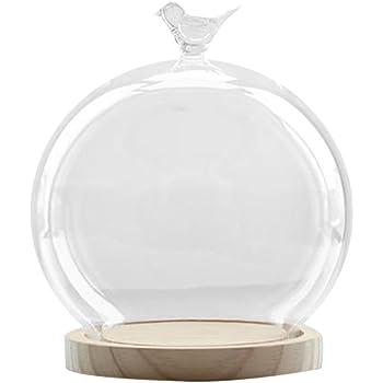 FLAMEER 装飾的なクリアガラスクローシュベルジャーディスプレイドーム、木製ベース、卓上センターピースDIY装飾 - 様式1