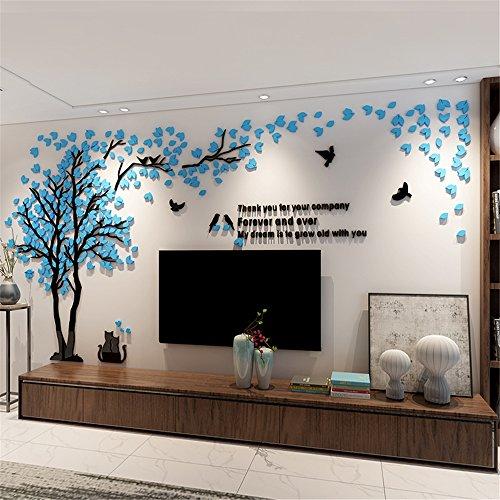 DIY 3D Riesiger Baum Paar Wandtattoos Wandaufkleber Kristall Acryl Malen Wanddeko Wandkunst (XL, Blau, Recht)