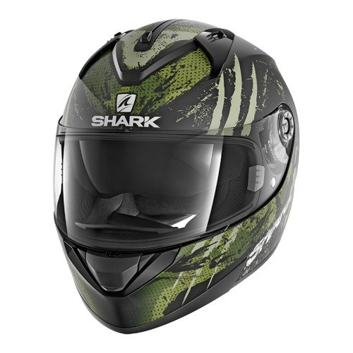 Shark Moto Casco Hark–ridill threezy Mat, Negro/Verde, tamaño S
