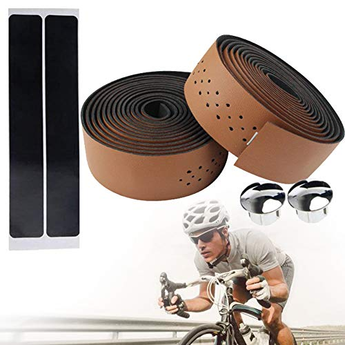 1 Paar Fahrrad-lenkerband Pu-Leder Rennrad Lenker Grip Wraps Anti-rutsch-weiche Atmungsaktive Mountainbike Lenkerbänder Mit Bar Plugs (Brown)