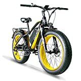 Cyrusher XF650 Electric Bike 1000W Mountain Bike 26 * 4inch Fat Tire Bikes 7 Speeds Ebikes for Adults with 13Ah Battery (Yellow)