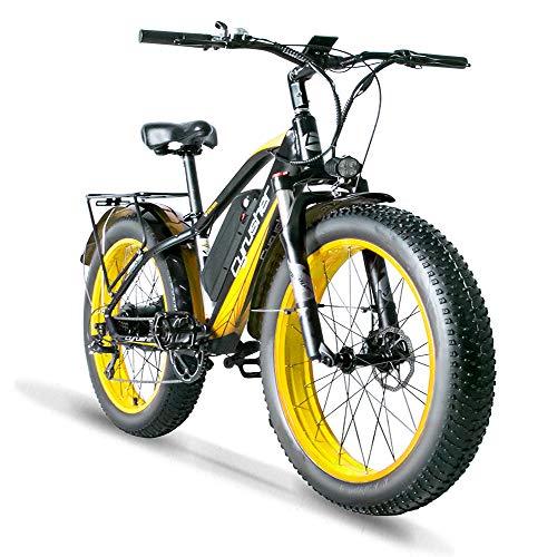 Cyrusher XF650 Electric Mountain Bike 264 inch Fat Tire e-Bike 7 Speeds Beach Cruiser Mens Sports Mountain Bike for Adults,48V 13AH Lithium Battery Beach Cruiser for Adults (Yellow)